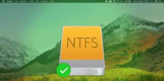 Device NTFS al centro dell'immagine, con sullo sfondo macOS High Sierra