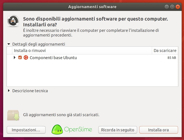 aggiornamenti-software-1 - Recensione Ubuntu 18.04.1 LTS Bionic Beaver