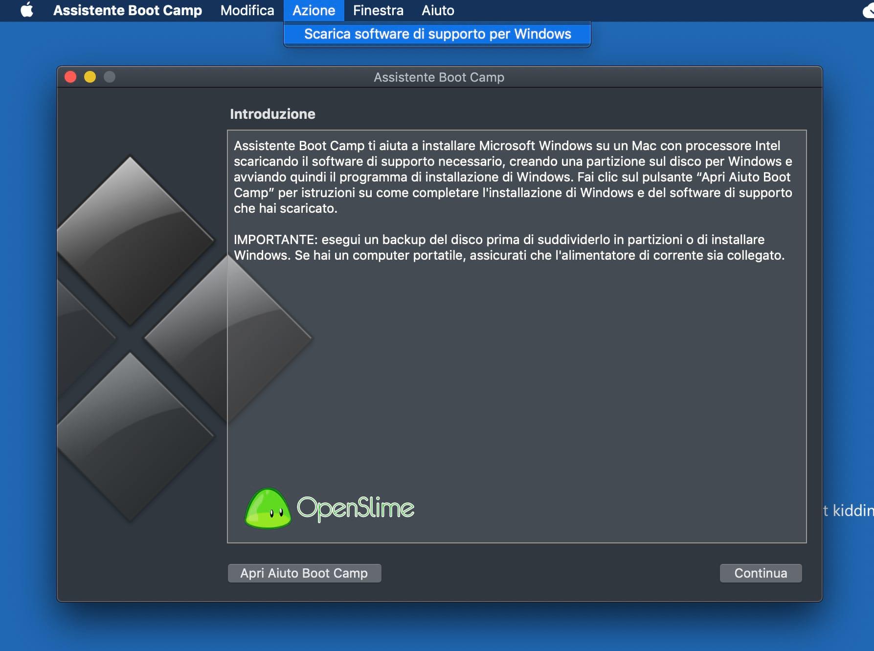 partizione su mac per windows 7