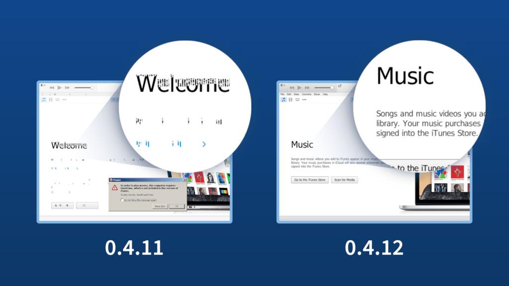 Mostra la differenza tra 0.4.11 e 0.4.12 nel visualizzare correttamente il font nei programmi su ReactOS