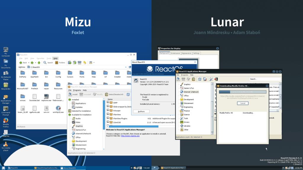 I nuovi temi Mizu e Lunar, disponibili ora su ReactOS 0.4.12